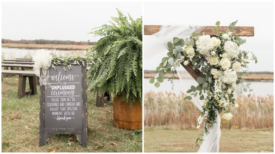 outdoor fall wedding ceremony at Eagle Manor