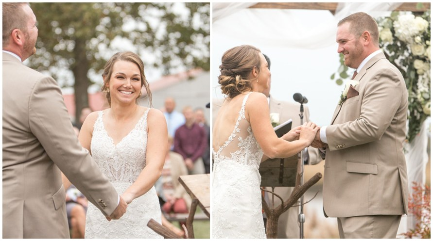 Bride and groom say their vows to one another