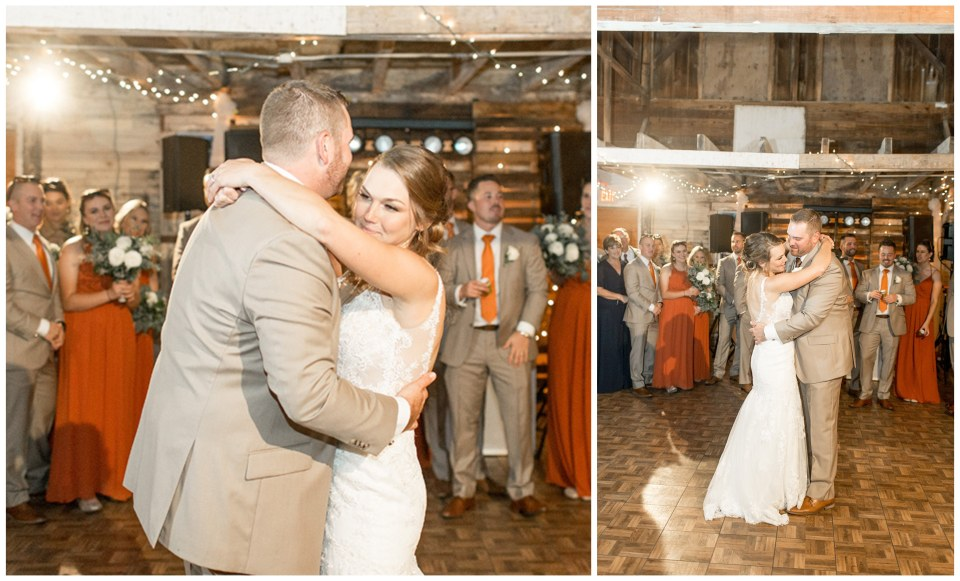 bride and grooms first dance in the barn at Eagle Manor