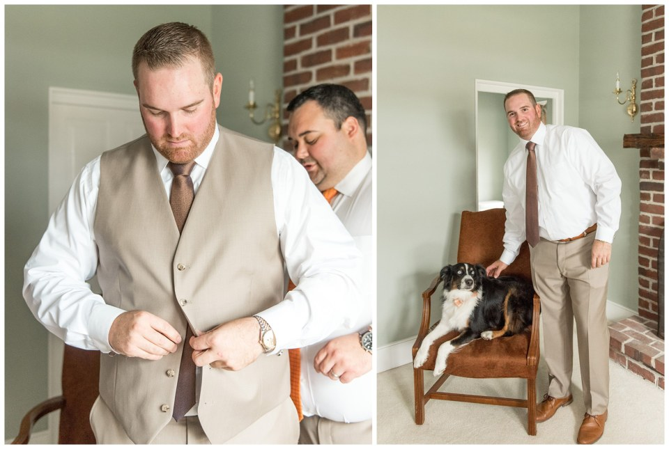 groom and his dog getting ready at Eagle Manor