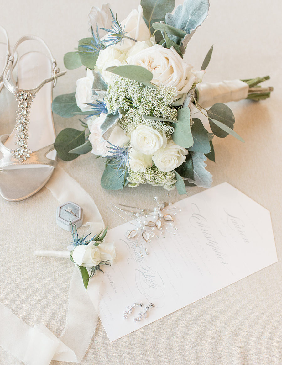 cream and eucalyptus wedding details