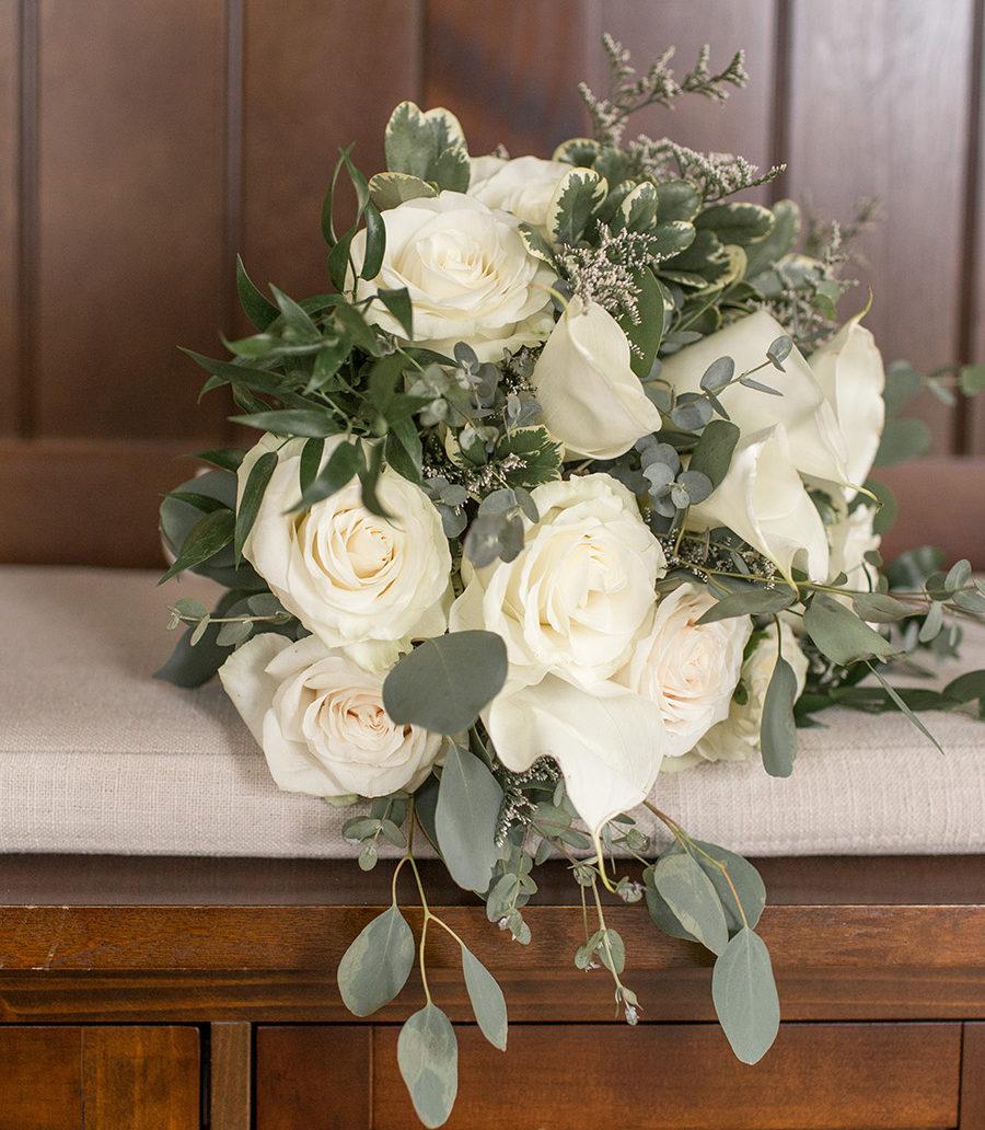 cream and eucalyptus wedding bouquet