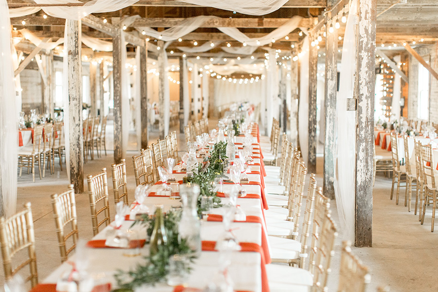 wedding reception inside the rustic dairy barn at Eagle Manor