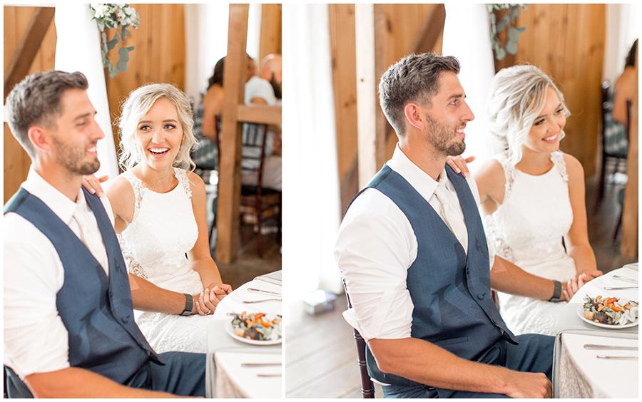 bride and groom enjoying their wedding reception at Melhorn Manor