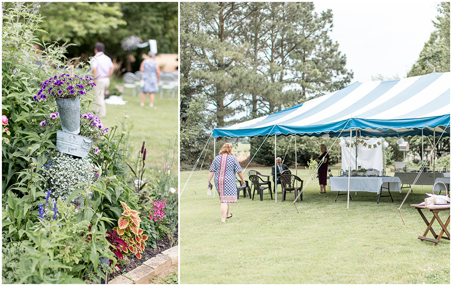 tented backyard wedding ceremony and reception