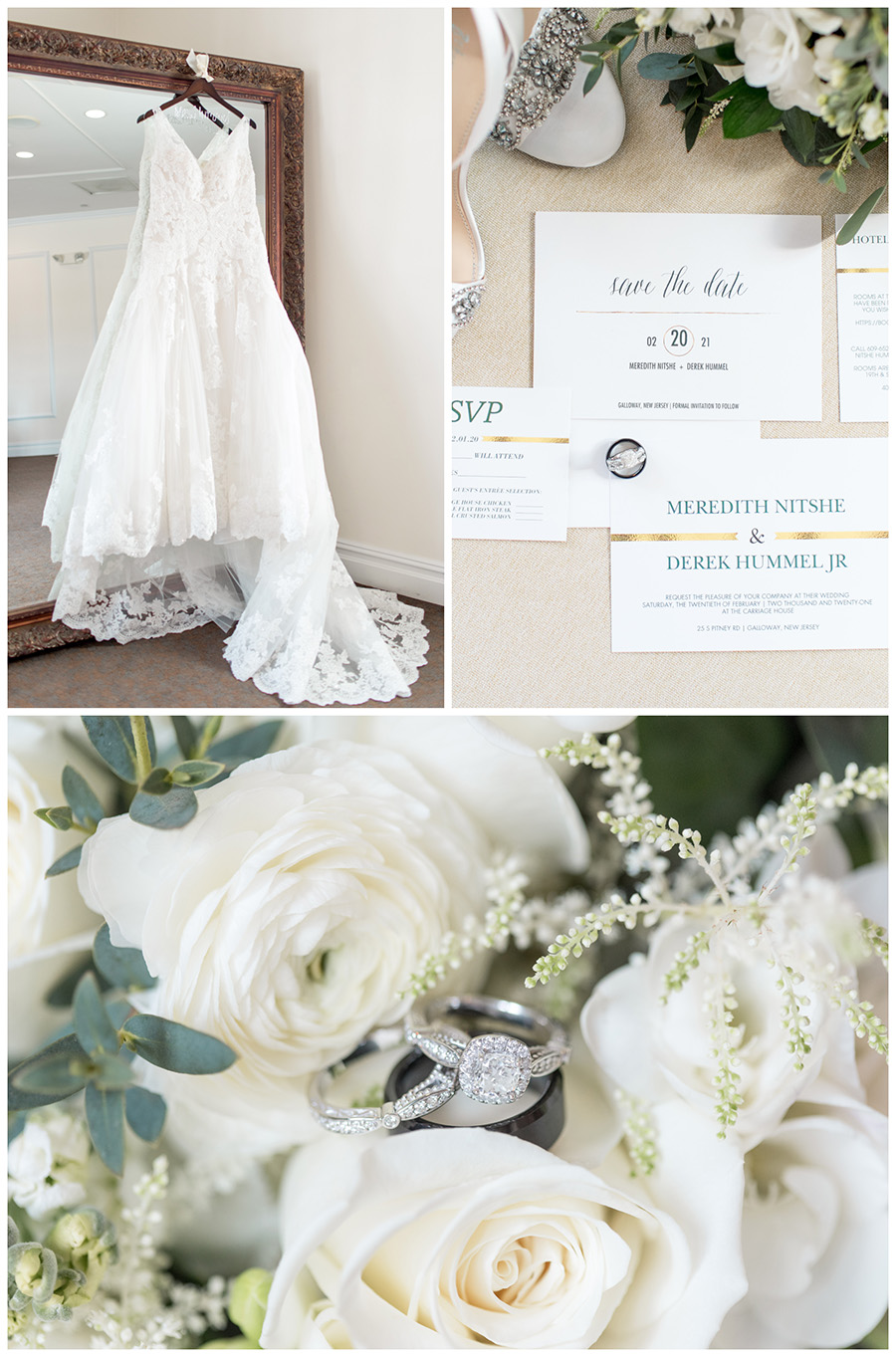 wedding day details in the bridal suite at the Carriage House