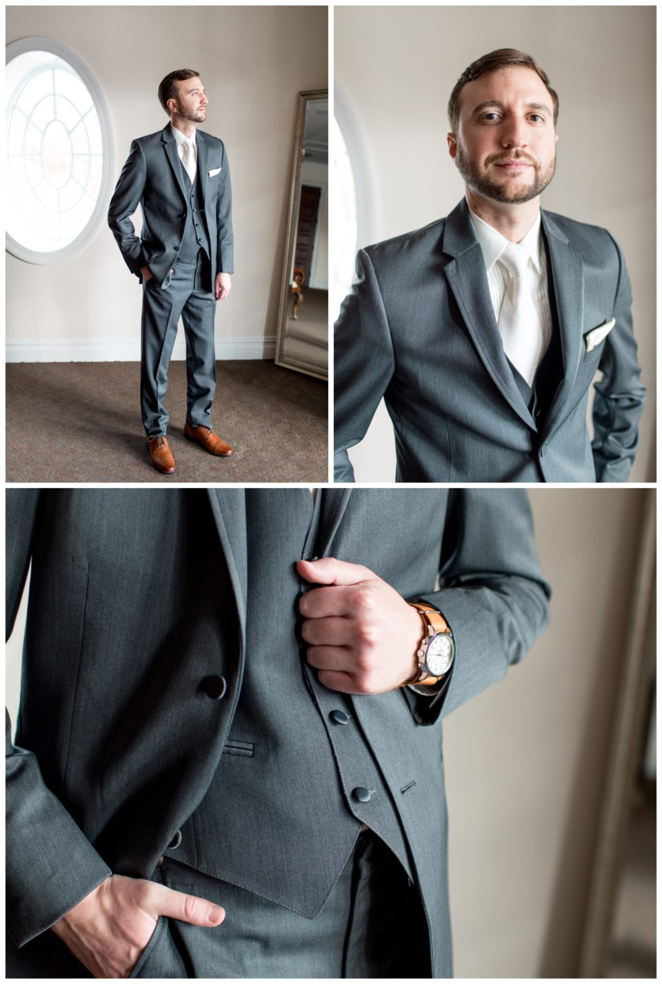 groom in dark gray suit and white tie
