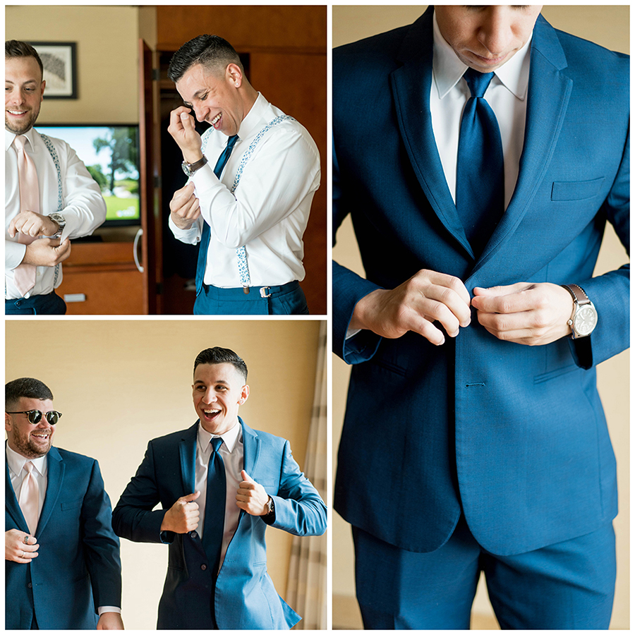 groom getting ready in a nearby hotel with his friends