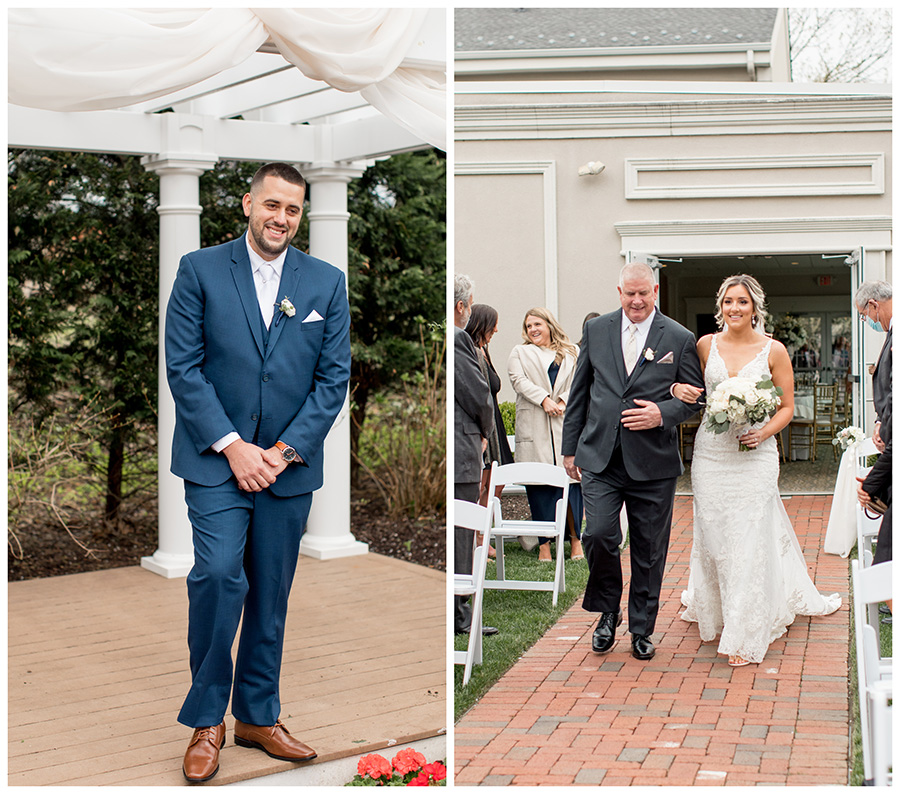 groom turns to see his bride walking down the aisle