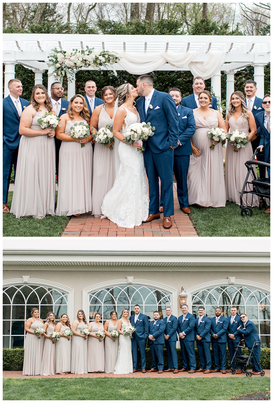 bridal party with navy tuxes and beige, neutral colored bridesmaid dresses and white bouquets