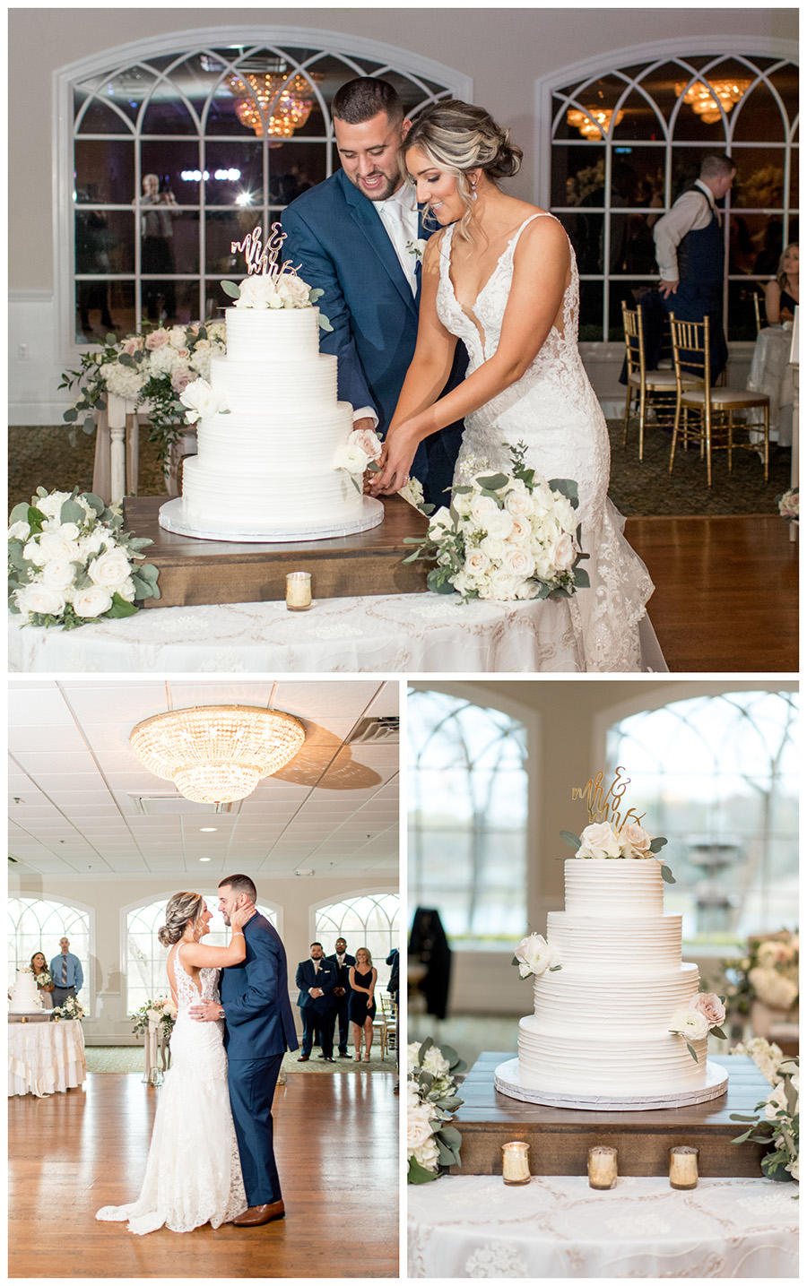 Bride and groom cut their cake in the ballroom at the Bradford Estate