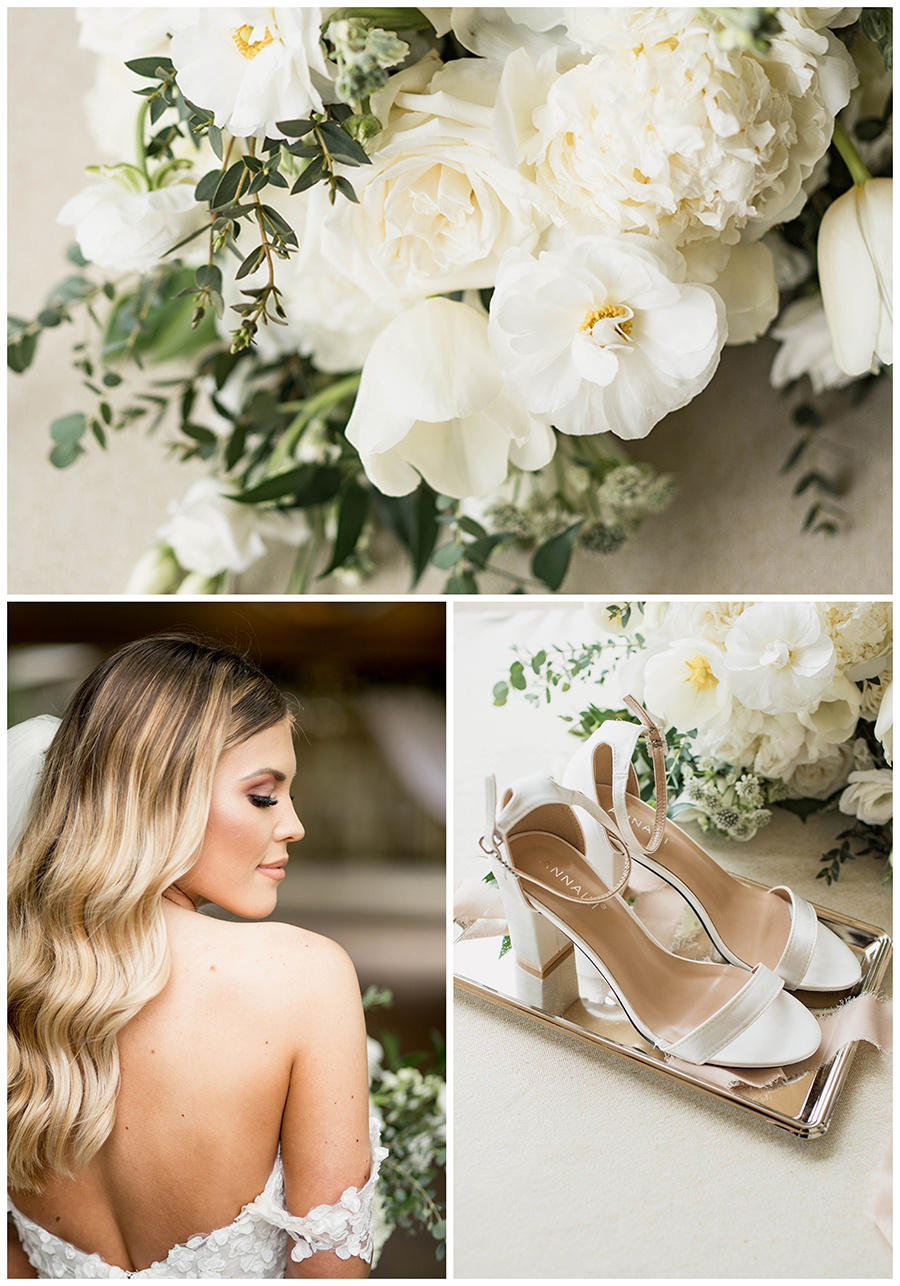 cream and white wedding details and florals