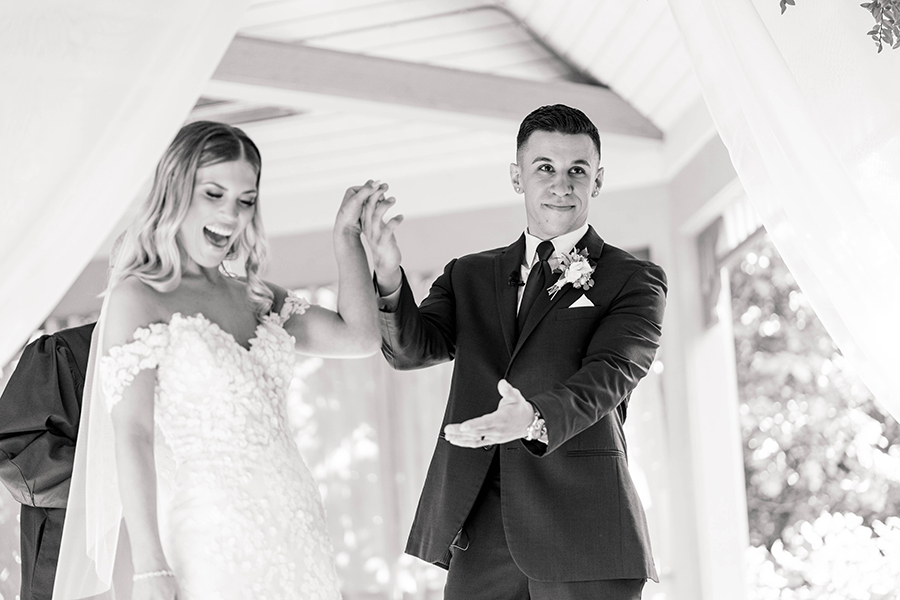 newly married couple after their wedding ceremony