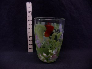 picture of glass vase with colored pattern in glass