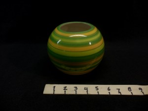 picture of fun green striped round bowl