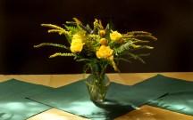 picture of yellow vase arrangement
