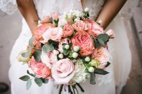 wedding bouquet in her hands