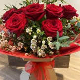 12 Red Rose Boxed Bouquet Indulgent