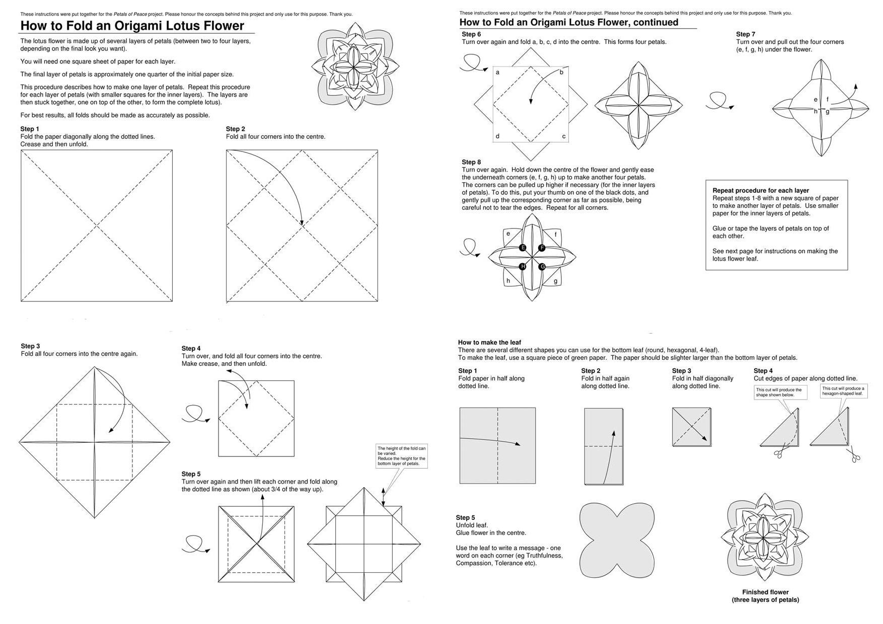 Origami Lotus Flower Worksheets