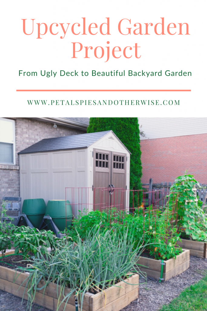 A must see transformation! Turning an outdated old deck into amazing raised garden beds and a beautiful backyard garden space!  #upcycledgarden #gardeninspiration #newgarden #vegetablegarden #raisedbed