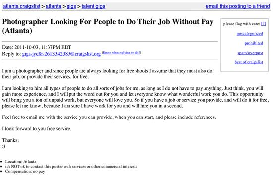 """Photographer Looking For People To Do Their Job Without Pay"""