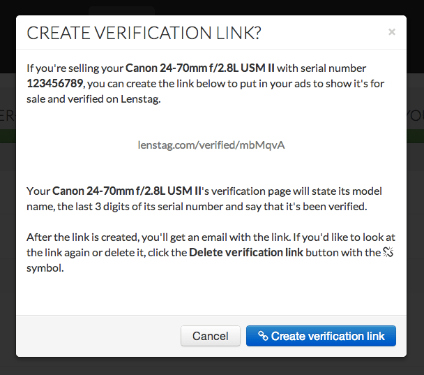 Lenstag Now Has Disposable Verification Links for Used Camera Gear Sales create verification link dialog