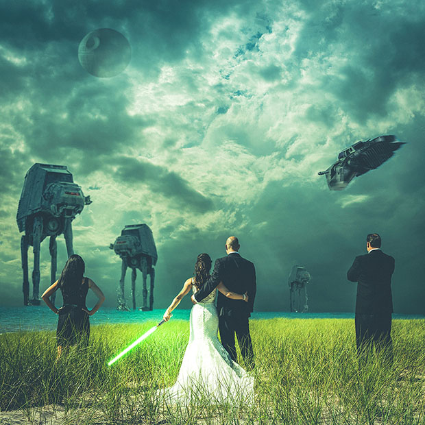 Star Warsthemed Wedding Photo Shows Newlyweds Battling the Empire