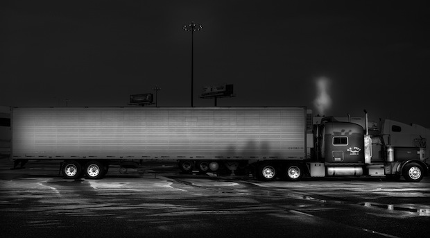 Black and White Night Photos of Dormant 18 Wheelers at Truck Stops blackdog2