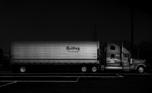 Black and White Night Photos of Dormant 18 Wheelers at Truck Stops blackdog4