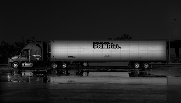 Black and White Night Photos of Dormant 18 Wheelers at Truck Stops blackdog7