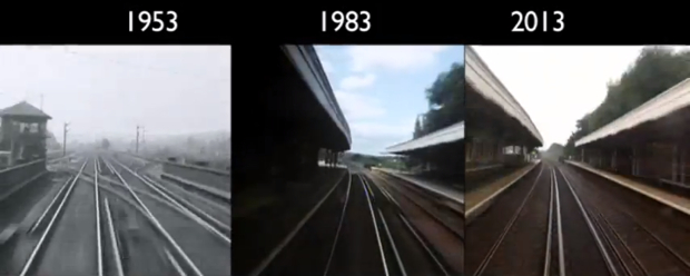 Time Lapse Captures the Train Ride from London to Brighton in 1953, 83 and 2013 londontrain1