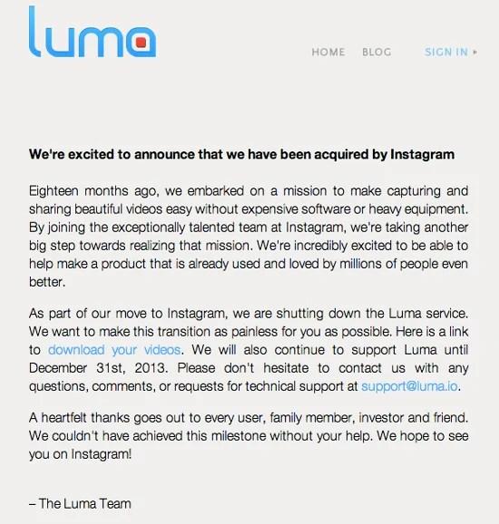 Instagram Enters the Acquisition Game, Purchases Video App Luma lumannouncement1