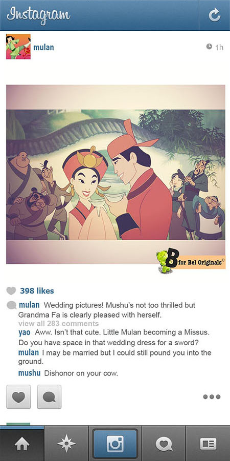 Humor: What if Disney Princesses Shared Photos on Instagram? mulan