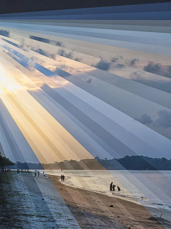 These Creative Time Slice Photo Collages Blend Day and Night night day changi beach sunset rays b flat