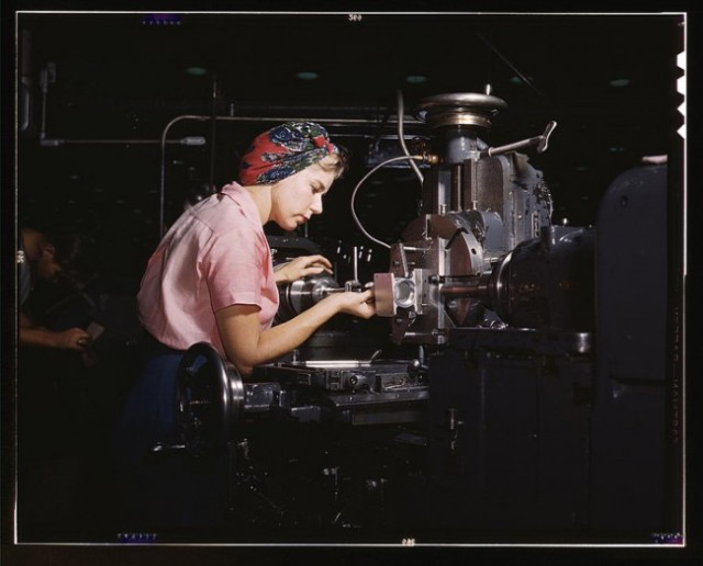 A woman working as a shop technician at the Douglas Aircraft Company plant in Long Beach, 1942.