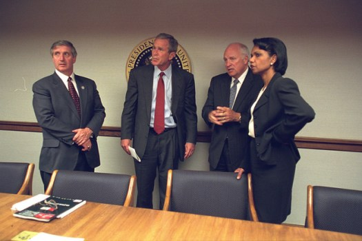 President Bush with Vice President Cheney and Senior Staff in the President's Emergency Operations Center (PEOC)