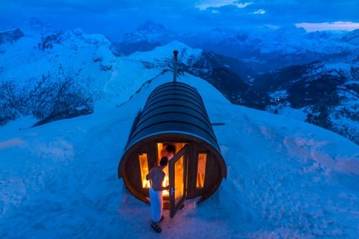 A sauna at 2.800 mt high, in the heart of Dolomites. Monte Lagazuoi, Cortina, eastern Italian Alps.