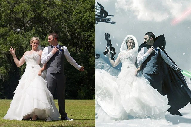 Video Creating a Star Wars Wedding Photo with 12 Hours of Photoshop
