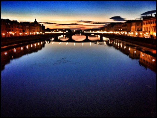 Taken at dusk on a bridge over the Arno River in Florence. I pushed the saturation to give it extra punch. I also shot this with my trusty Fuji X-Pro1, but made the same shot with the iPhone so I could tag and share it by the time I stepped off the bridge.