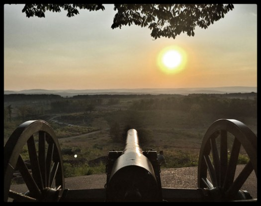 View from Little Round Top over the Valley of Death at Gettysburg, PA. This is a great example of working the exposure. I tapped the cannon and then had to further adjust the exposure due to the setting sun in the photo.