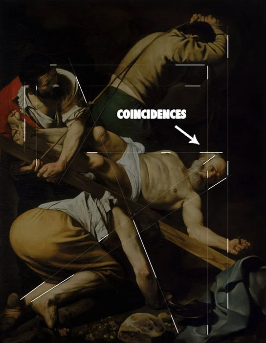 Painting by Caravaggio shows how he hides his lines by understanding the Law of Continuity.