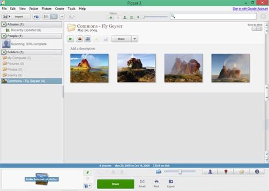 A screenshot of Picasa 3.9. Image by Codename Lisa.