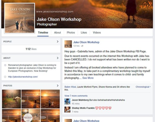 A screenshot of a deleted Facebook announcement about a canceled workshop in Sweden.