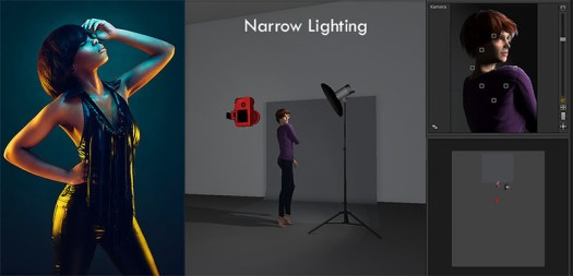 Narrow lighting means that our key light is placed to the side of our model and creates more shape and form by casting shadows across our model. The benefit of this lighting is that our key light isn't pointed towards the background and thereby isn't affecting our gelled light.