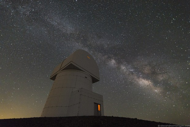 The Milky Way over Aristarchos Telescope at the top of Helmos Mountain (2340m/7677ft). North Peloponnese, Kalavryta, Greece.