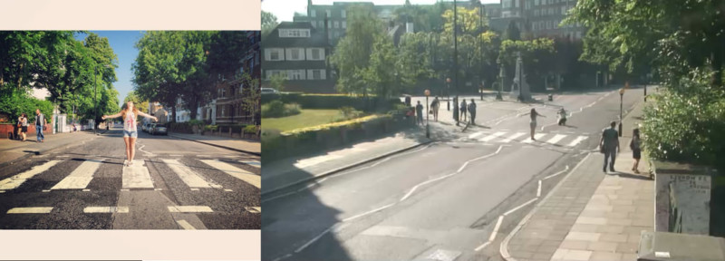 """amanda dagnino diptych 1 orig 800x288 - Projeto """"Found"""" visa achar pessoas que tiraram foto na rua dos Beatles"""