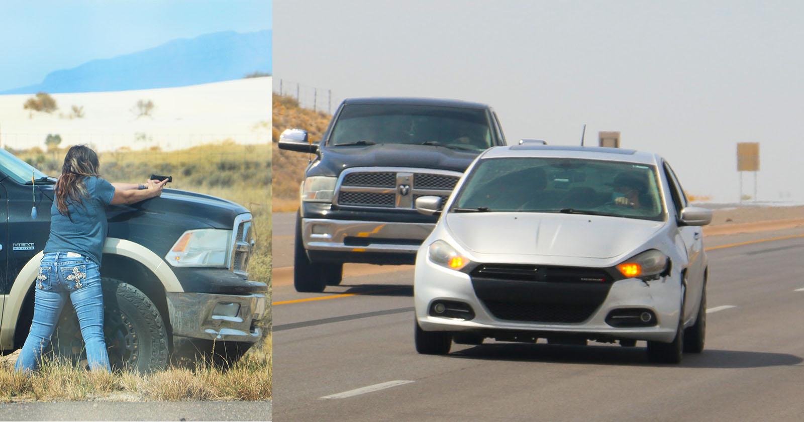 Il fotografo si ritrova a riprendere un inseguimento in auto ad alta velocità
