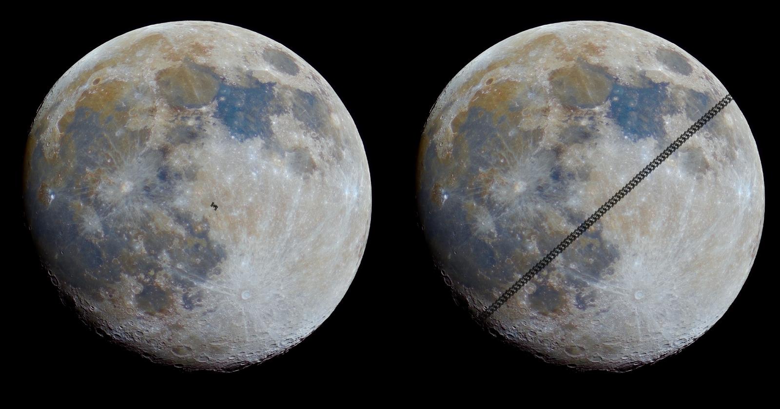 """Photog cattura filmati della ISS in viaggio davanti a una """"luna minerale"""" (Mineral Moon)"""