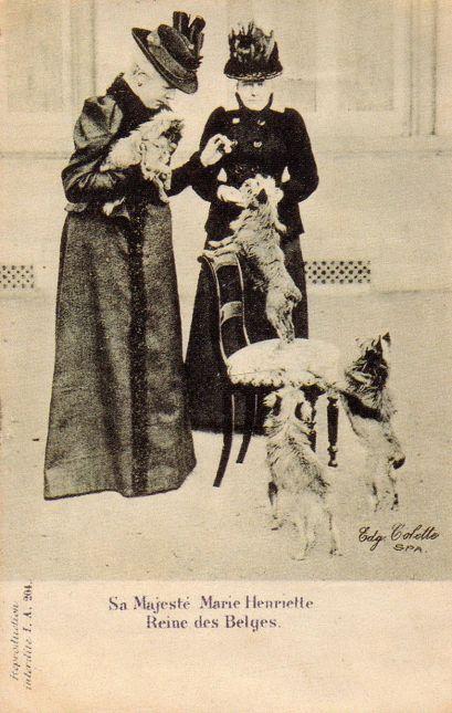 Marie Henriette com seus griffons de bruxellas