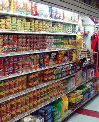 Dog food on display in supermarket